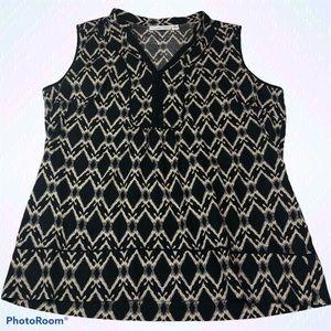 St. John's Bay Ikat Sleeveless Shirt V-Neck Light